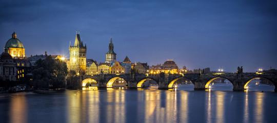 Night view of Charles Bridge in Prague Czech Republic