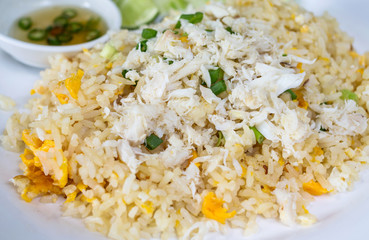 Fried rice with crab in plate,Thai cuisine