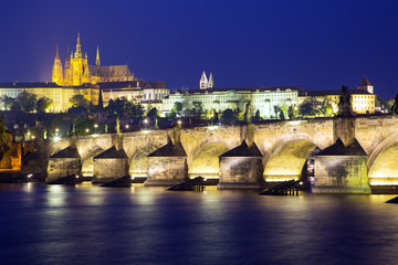 View of the Charles Bridge and Castle in Prague at night
