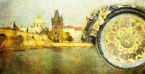Old Prague city vintage card
