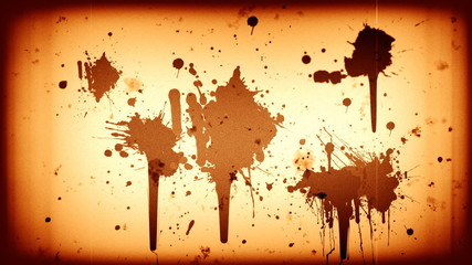 Blood splatter on old sepia film reel