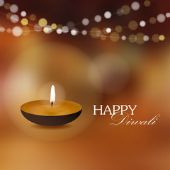 Diwali greeting card invitation with diya oil lamp,vector