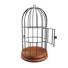 empty cage with the door open