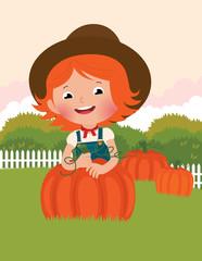 Little farmer of pumpkins
