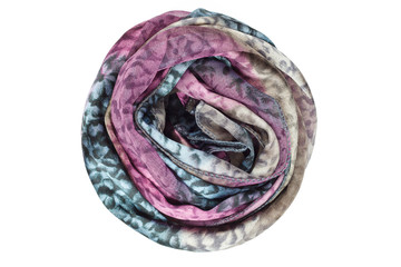 Lilac and gray silk scarf isolated on white background