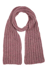 Lilac wool scarf isolated on white background
