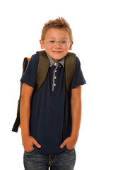 school boy isolated over white background