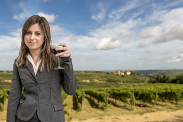 Woman Sommelier in the vineyards
