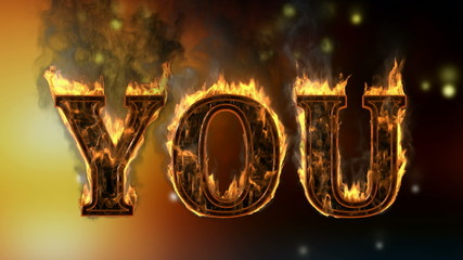 you . burning word on glowing background