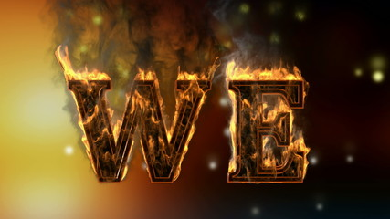 we . burning word on glowing background