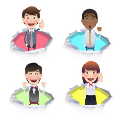 Business people inside hole paper. Vector design.