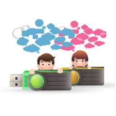business people with pendrive over isolated white background