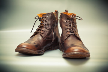 Luxury leather men's shoes. High autumn and spring shoes brown