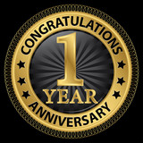 1 year anniversary congratulations gold label with ribbon, vecto