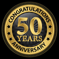 50 years anniversary congratulations gold label with ribbon, vec