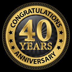 40 years anniversary congratulations gold label with ribbon, vec