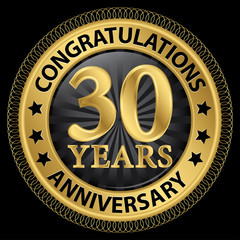 30 years anniversary congratulations gold label with ribbon, vec