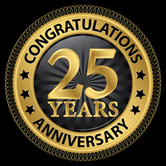 25 years anniversary congratulations gold label with ribbon, vec