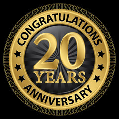 20 years anniversary congratulations gold label with ribbon, vec