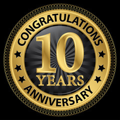 10 years anniversary congratulations gold label with ribbon, vec