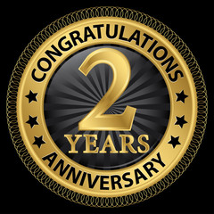 2 years anniversary congratulations gold label with ribbon, vect