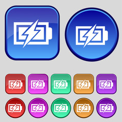 Battery charging sign icon. Lightning symbol. Set of colour