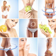 Sporty and beautiful female bodies with arrows (health collage)