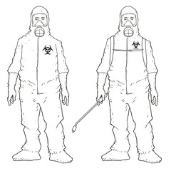 Man in protective suit, sketchy Vectors