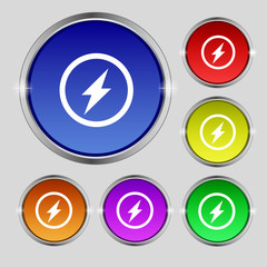 Photo flash sign icon. Lightning symbol. Set of colour buttons.