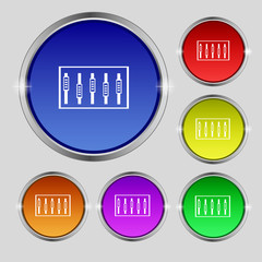 Dj console mix handles and buttons, level icons. Set of colour