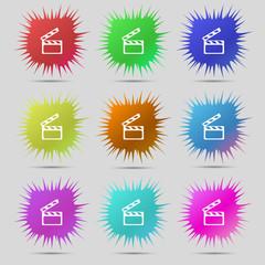 Cinema Clapper  sign icon. Video camera symbol. Set of colour