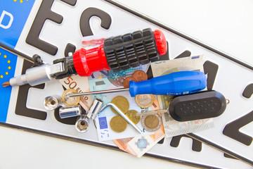 Autokosten - Kennzeichen, Werkzeuge und Geld