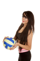 woman black and white fitness volleyball
