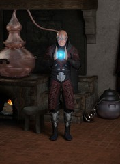 Sorcerer in his Laboratory Creating a Fireball