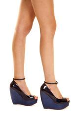 woman legs blue solid heels side