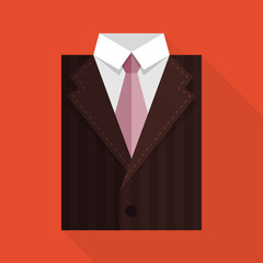 Flat business jacket and tie. Brown color