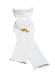 competition equestrian white tie with  brooch   isolated