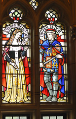 Vintage stained glass window in the castle