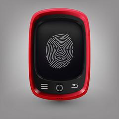 Red phone. Fingerprint
