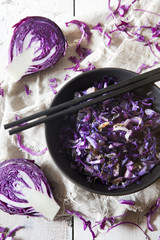 sauteed purple cabbage on japanese bowl with chopsticks