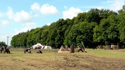 ancient battlefield - cannons - tents - forest (trees)