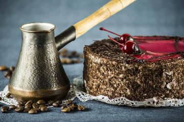 cake with cherry and coffee