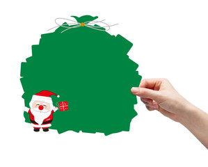 Hand picking santa clause on white background
