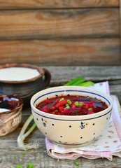 traditional Ukrainian beet soup borsch