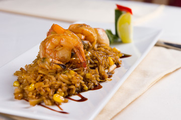 Close Up of Seafood Fried Rice on Plate