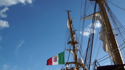 large sailing boat at the Wharf in port of Italy