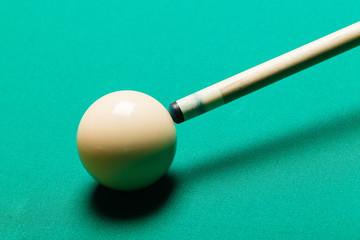 Billiard balls in a pool table.