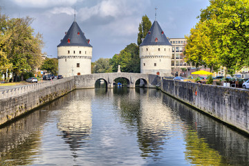 Medieval Broel Towers and old bridge in Kortrijk city