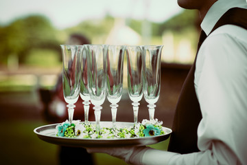 Wedding champagne party decorated glasses