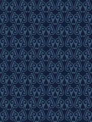 Blue Colors Art Deco Style lattice Pattern design. Original Patt